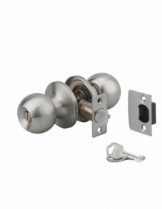 Serrure horizontale tubulaire en applique double entrée pour porte d'entrée, axe réglable, chromé mat, 3 clés - THIRARD Serru...