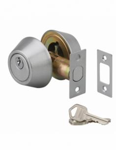 Serrure horizontale tubulaire en applique double entrée pour porte d'entrée, axe réglable 60/70 mm, chromé mat, 3 clés - THIR...