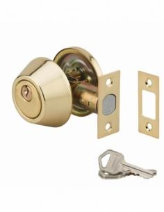 Serrure horizontale tubulaire en applique à bouton pour porte d'entrée, axe réglable, doré, 3 clés - THIRARD Verrou de porte