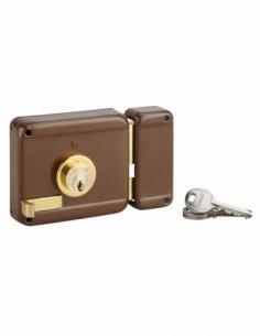 Serrure horizontale en applique double entrée à tirage pour porte d'entrée, droite, 100x86mm, axe 50mm, marron, 3 clés - THIR...