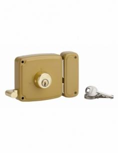 Serrure horizontale en applique double entrée à tirage pour porte d'entrée, droite, 100x94mm, axe 50mm, marron, 3 clés - THIR...