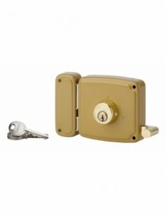 Serrure horizontale en applique double entrée à tirage pour porte d'entrée, gauche, 100x94mm, axe 50mm, marron, 3 clés - THIR...