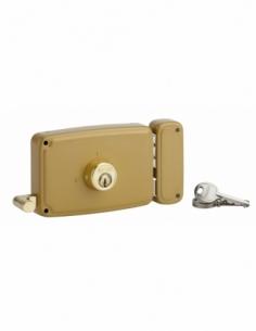 Serrure horizontale en applique double entrée à tirage pour porte d'entrée, droite, 140x94mm, axe 70mm, marron, 3 clés - THIR...