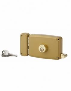 Serrure horizontale en applique double entrée à tirage pour porte d'entrée, gauche, 140x94mm, axe 70mm, marron, 3 clés - THIR...