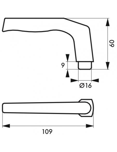 Paire de béquilles pour porte, carré 7x110mm, 1 portée, noir - THIRARD Poignée