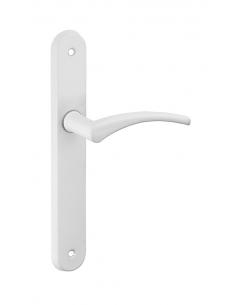 Ensemble de poignées pour porte intérieure Hebe sans trou, carré 7mm, entr'axes 165mm, laqué blanc - THIRARD Poignée de porte