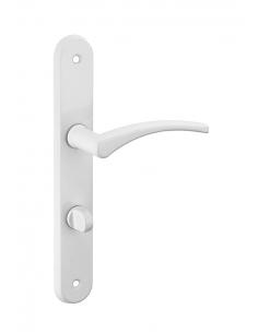 Ensemble de poignées pour porte intérieure Hebe à condamnation, carré 7mm, entr'axes 165mm, laqué blanc - THIRARD Poignée de ...