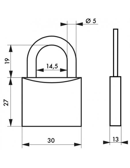 Cadenas à clé Type 1, bagage, aluminium, 30mm, 2 clés - THIRARD Cadenas
