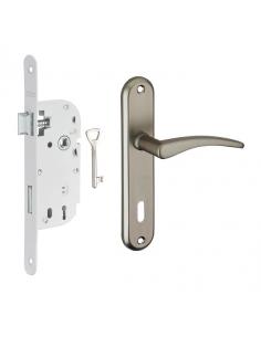 Garniture serrure encastrable à clé + ensemble poignées Vesta, axe 40mm, bouts ronds, blanc, 1 clé - THIRARD Serrure encastrable