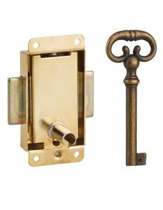 Serrure de meuble en applique pour porte d'ameublement, axe 15mm, 30x50mm, laiton, 1 clé - THIRARD Serrure de meuble