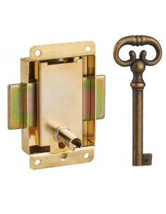 Serrure de meuble en applique pour porte d'ameublement, axe 20mm, 40x50mm, laiton, 1 clé - THIRARD Serrure de meuble