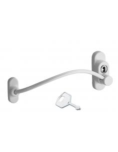 Entrebailleur à clé pour fenêtre, câble acier, 180mm, laqué blanc, 1 clé - THIRARD Entrebâilleur
