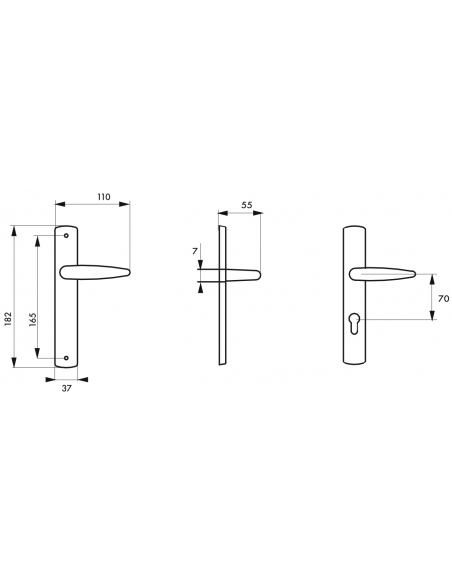 dimension Poignée de porte Ares trou de cylindre pour porte d'intérieur